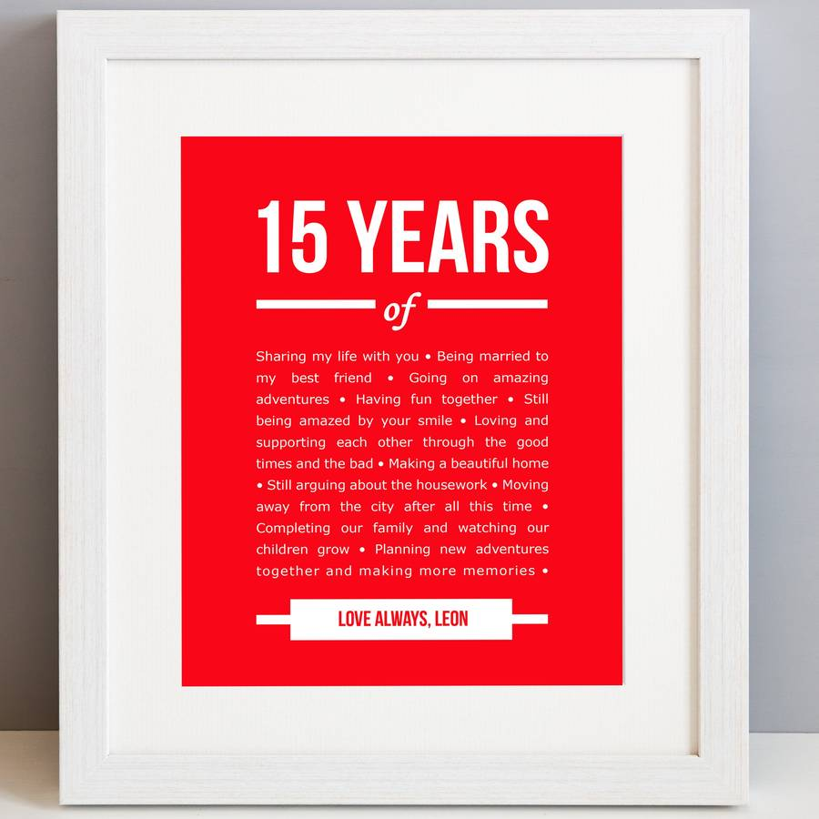 15 Year Wedding Anniversary Sayings: Personalised 15 Year Anniversary Print By Elephant Grey
