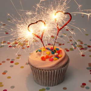 Heart Sparklers - cake decorations & toppers