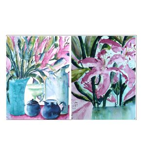 Pink Lilies Original Paintings Pair - paintings & canvases