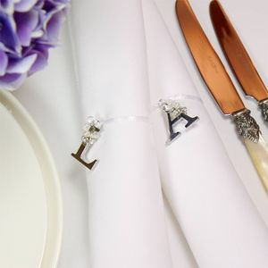 Silver Letter And Bead Napkin Ring
