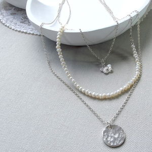 Personalised Sterling Silver And Pearl Bridal Necklace