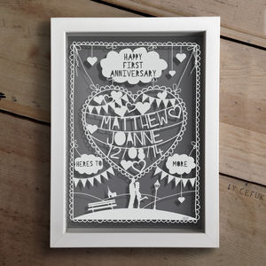 Personalised First Anniversary Papercut - personalised