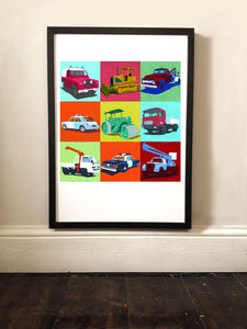 Cars And Trucks Pop Art Print - posters & prints