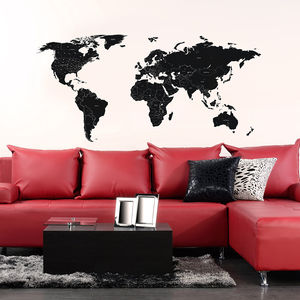 Large Black Labelled World Map Wall Stickers