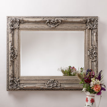 Antique Silver Ornate Rococo Mirror By Hand Crafted
