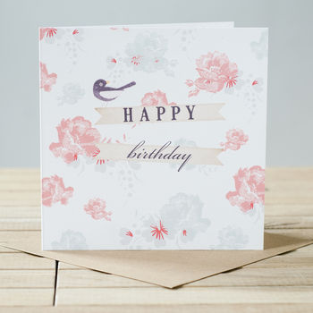 Vintage Style Floral 'Happy Birthday' Card