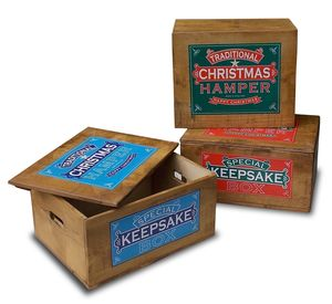 Traditional Wooden Christmas Hamper Box