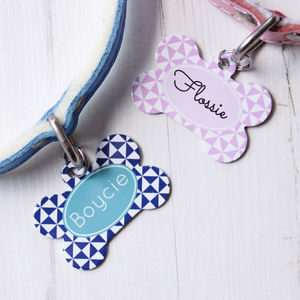 Personalised Pinwheel Pet Tag Bone Shaped