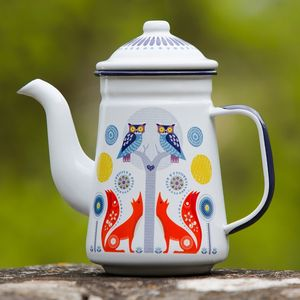 Folklore Enamel Coffee Pot White - kitchen