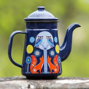 Folklore Woodland Enamel Coffee Pot Midnight - dining room