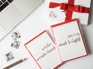 Luxury Red Foil Christmas Card Set Of Six - cards & wrap