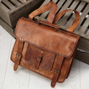 Leather Laptop Backpack Satchel - bags & purses