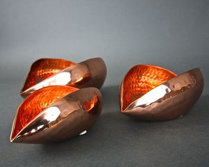 Copper Oval Seed Pod Votives - lights & lanterns