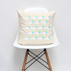 White Triangle Geometric Cushion