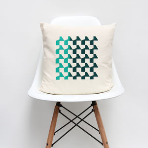 Blue And Green Blend Geometric Cushion