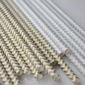 Metallic Chevron Paper Straws - shop by price