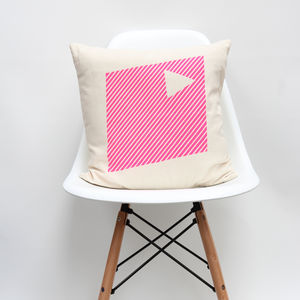Pink Geometric Design Cushion
