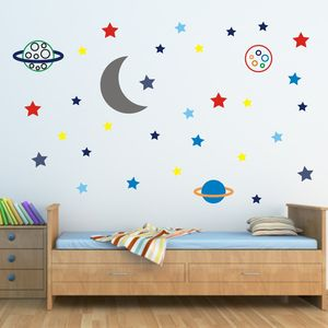 Stars And Planets Fabric Wall Sticker - wall stickers