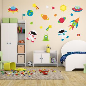 Astronauts In Space Wall Sticker - children's room accessories