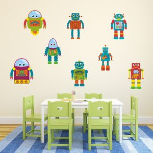 Robot Fabric Wall Stickers Set
