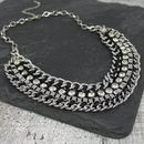 Gold Metal And Crystal Weave Bib Necklace