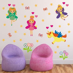 Girls Fairies Wall Stickers Set - baby's room