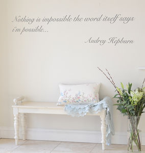 'Nothing Is Impossible' Audrey Quote Wall Sticker