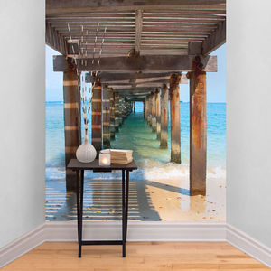 Wooden Beach Walkway Self Adhesive Wallpaper - office & study