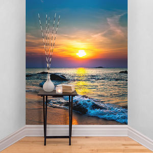 Sunset Over The Sea Self Adhesive Wallpaper - wallpaper
