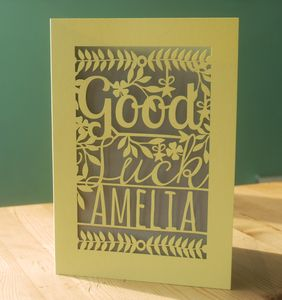 Personalised Papercut Good Luck Card