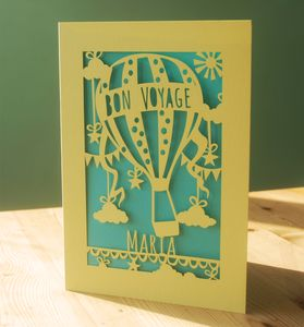 Personalised Papercut Bon Voyage Card