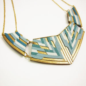 Large Leather And Suede Statement Necklace