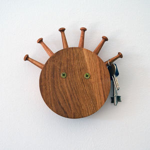 'Mad Hair Day' Oak Key Rack - hooks, pegs & clips