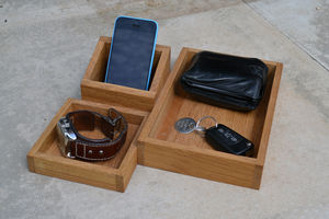 Wooden Desk Top Organiser - cufflink boxes & coin trays