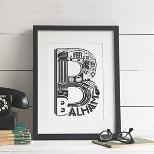 Best Of Balham Screen Print - treasured places