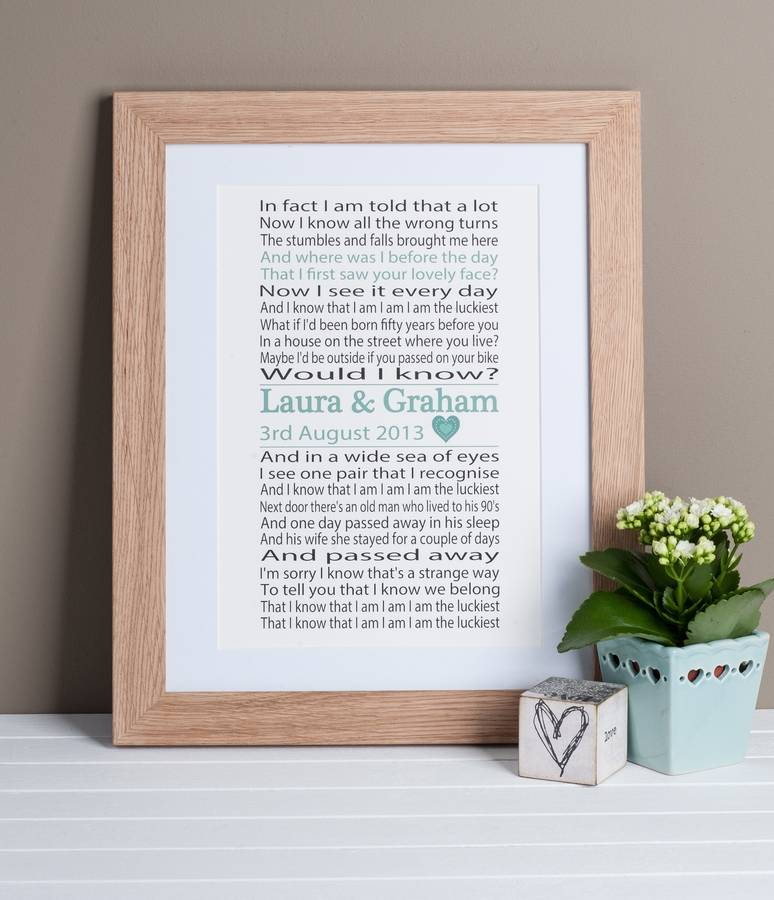 song lyrics print by lisa marie designs | notonthehighstreet.com