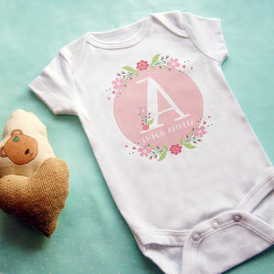 Personalised Floral Letter Vest - babygrows