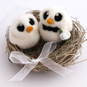 Bird Nest Wedding Cake Topper With Bride And Groom Bird - cake decoration