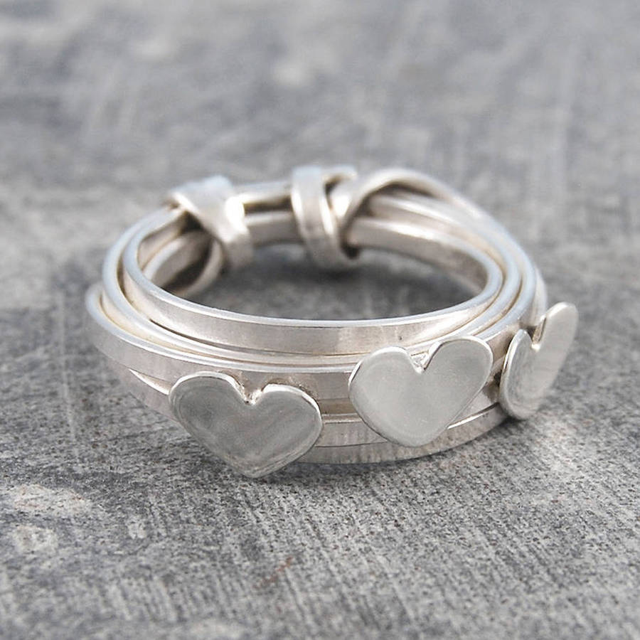 Wire Bands: Triple Heart Multi Wire Band Silver Ring By Otis Jaxon