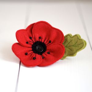 Handmade Red Felt Poppy Brooch - corsages
