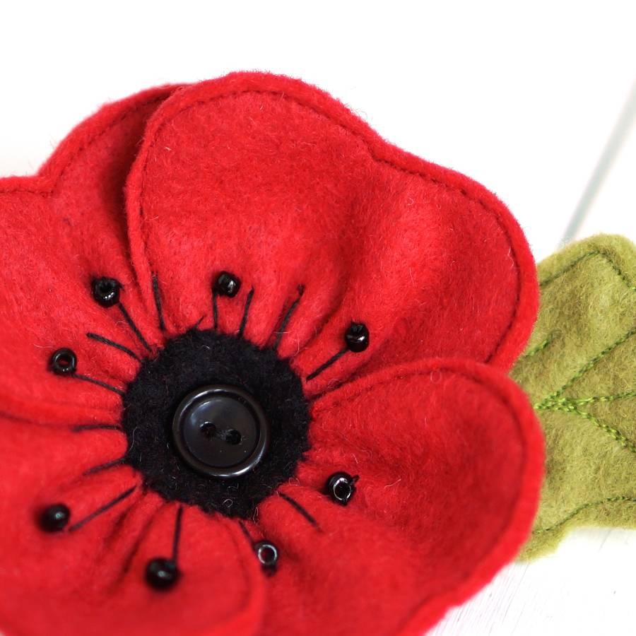 handmade red felt poppy brooch by rosiebull designs ...
