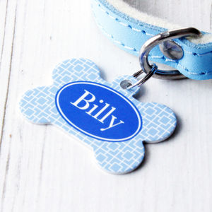 Personalised Pet Name ID Tag Bone Square