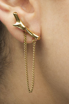Gold Asymmetric Thorn And Chain Stud Back Earrings