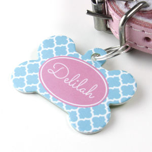 Personalised Quatrefoil Pet Tag Bone Shaped - cats