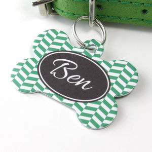 Personalised Pet Name ID Tag Bone Herringbone - walking