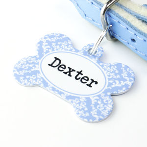 Personalised Damask Pet Tag Bone Shaped