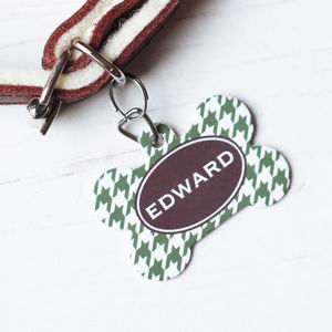 Personalised Pet Name ID Tag Bone Houndstooth - dogs