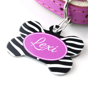 Personalised Pet Name ID Tag Bone Zebra