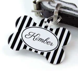 Personalised Stripe Pet Tag Bone Shaped