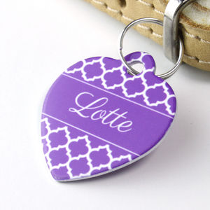Personalised Quatrefoil Pet Tag Heart Shaped - dogs